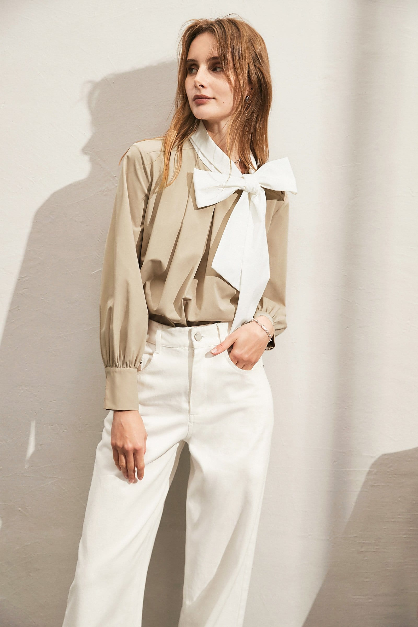 Bow Tan Contrast Shirt