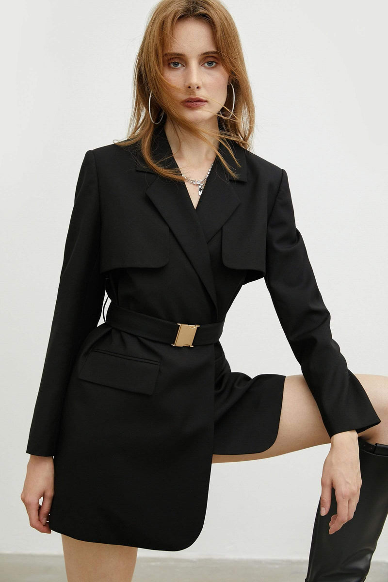 Military Black Belted Jacket