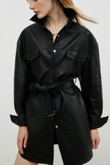 Sleek Black Belted Coat