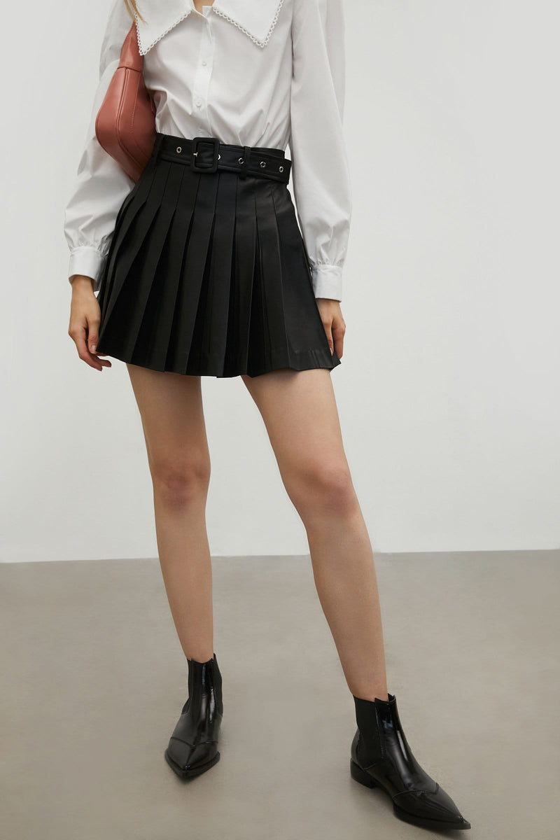 Belted Black Leather Skirt