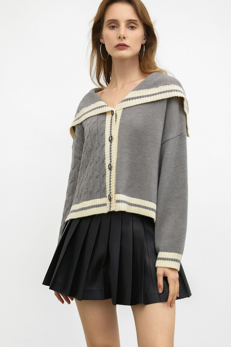 Preppy Grey Cape Cardigan