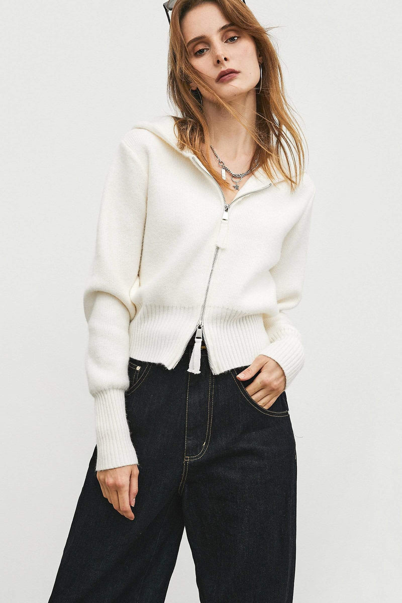 Zip Ivory Knit Cardigan