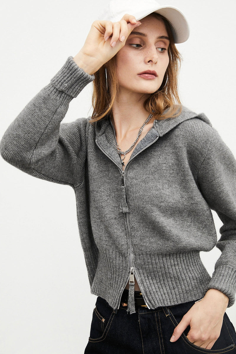Zip Grey Knit Cardigan