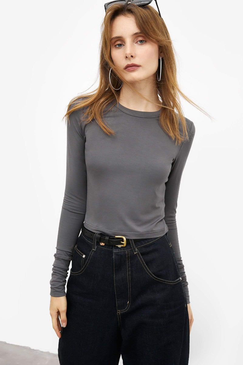 Crop Grey Long Sleeve Tee