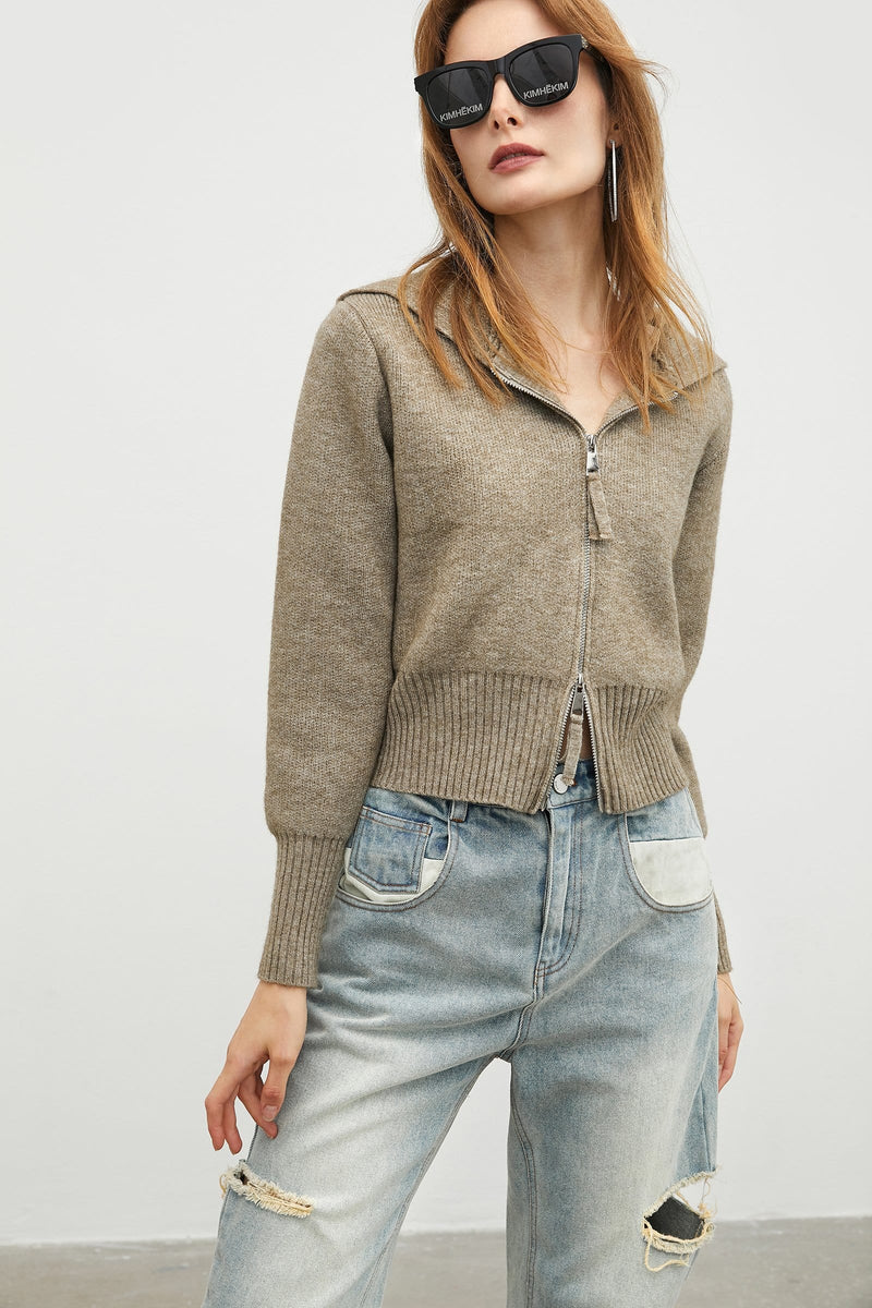 Zip Knit Tan Cardigan