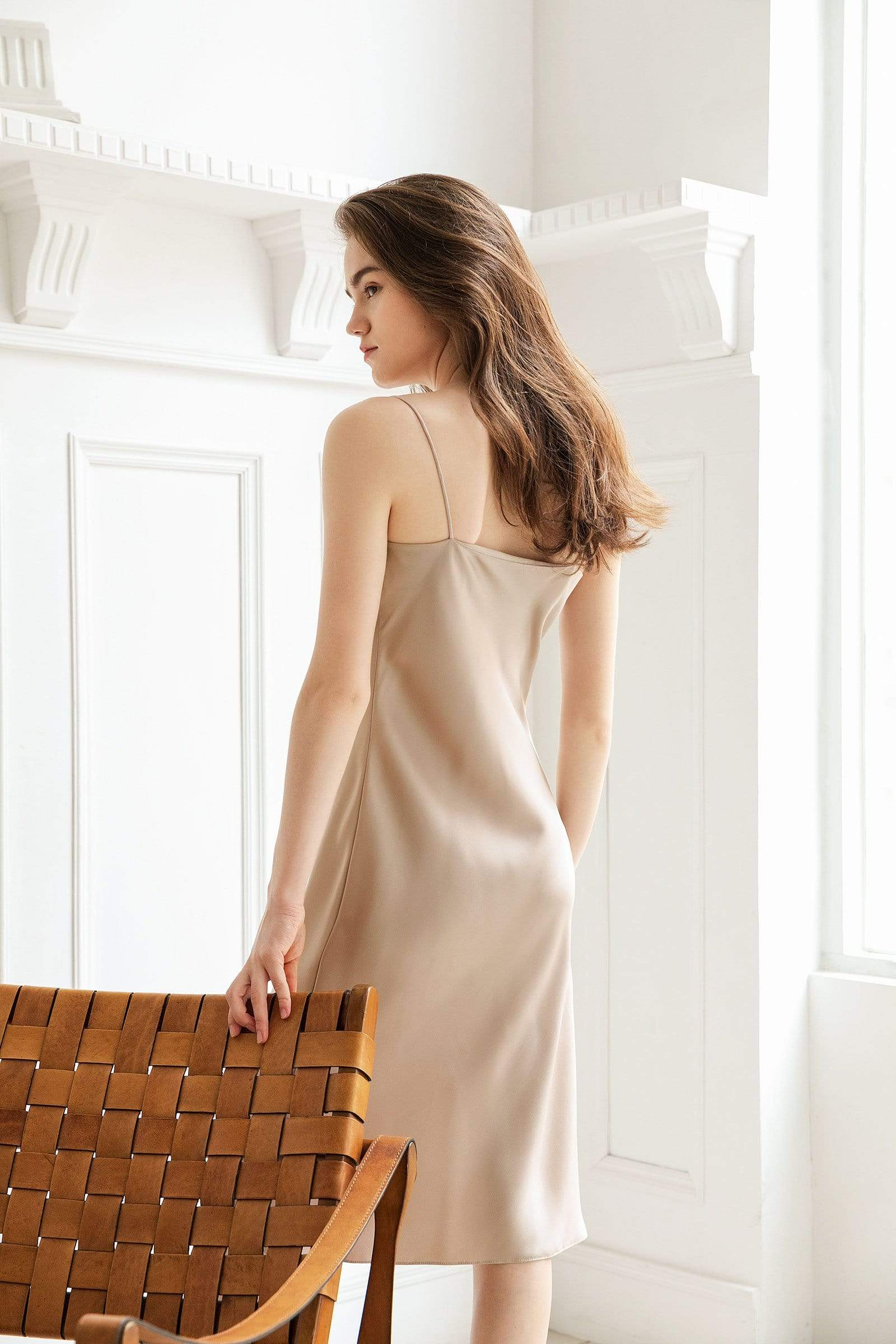 Champagne Gold Midi Slip Dress