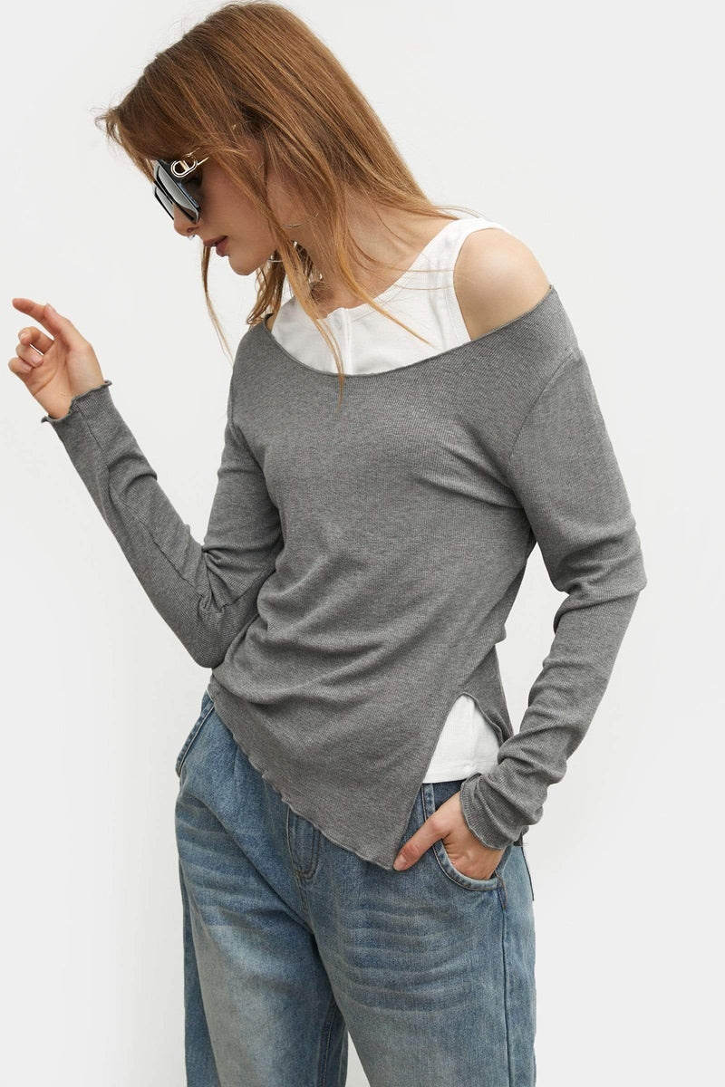 Layered Grey Slim Tee