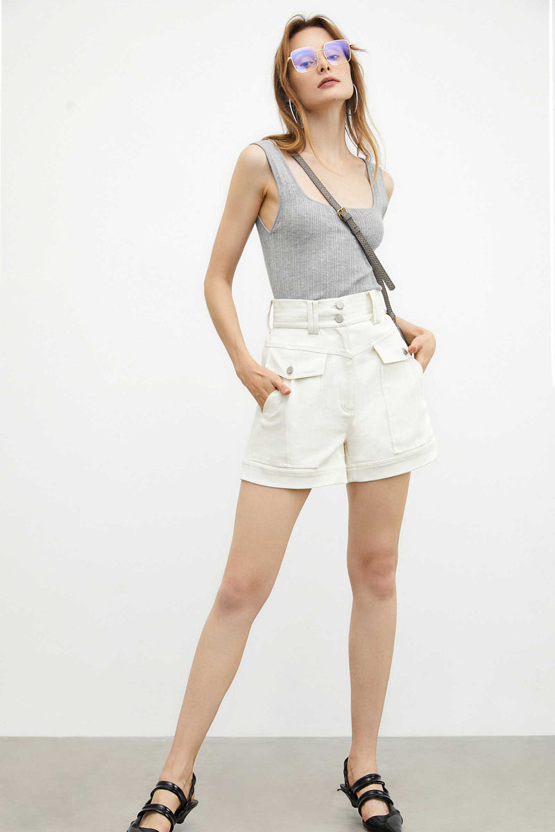Melanie White Wide Waist Shorts