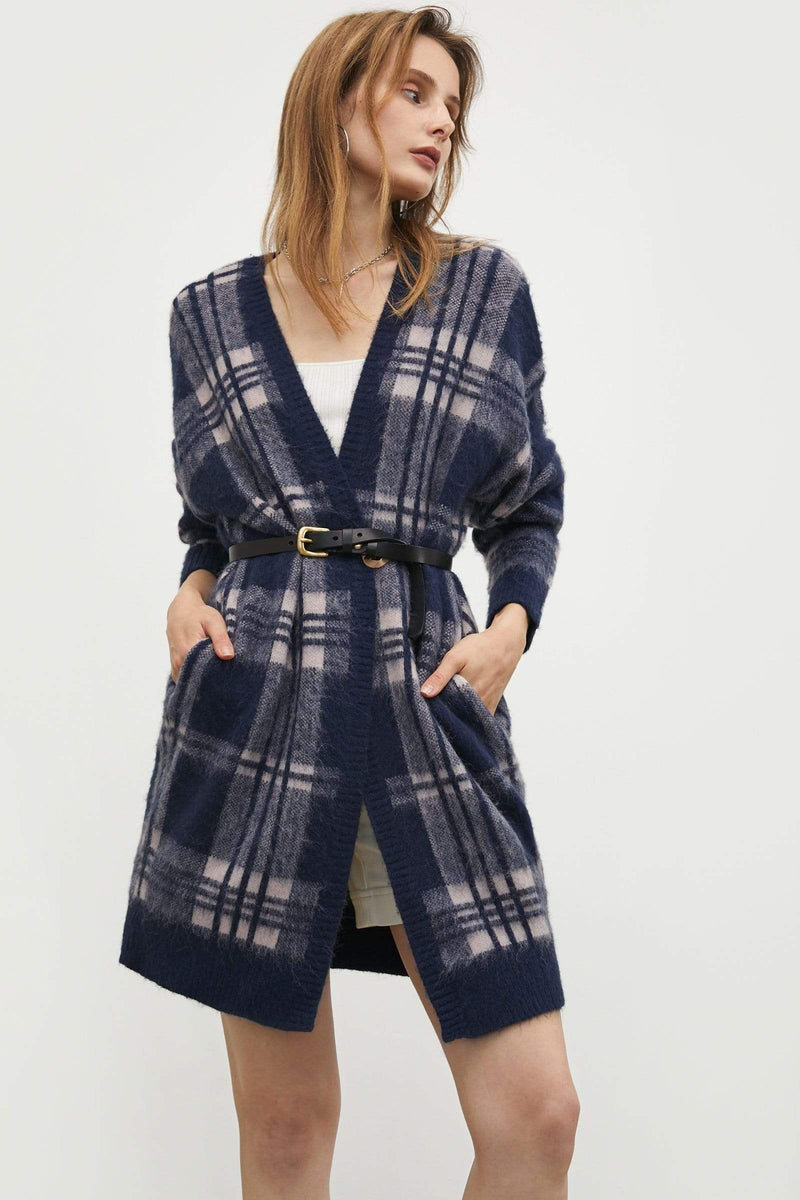 Elliott Blue Plaid Cardigan