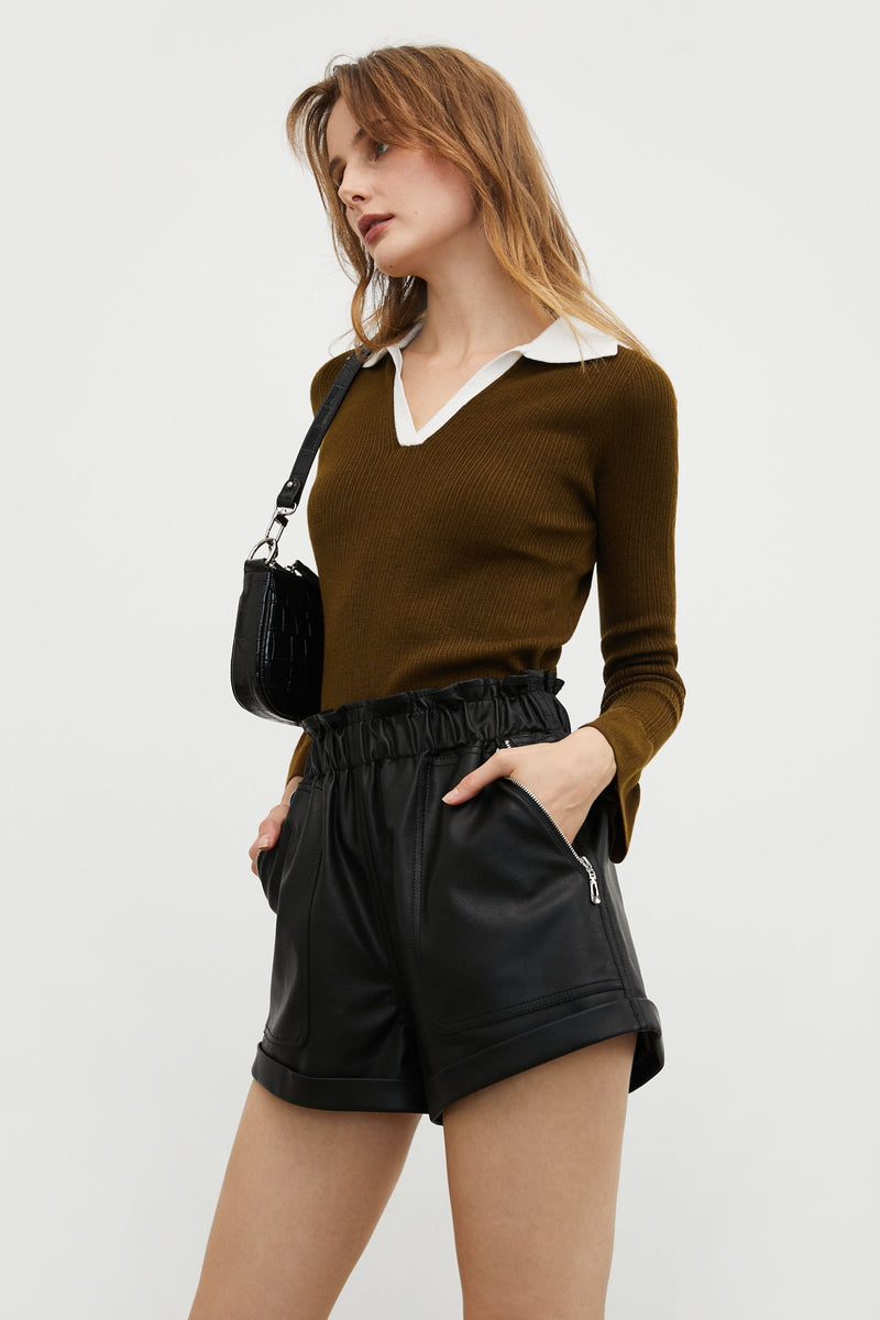 Contrast Collar Brown Sweater