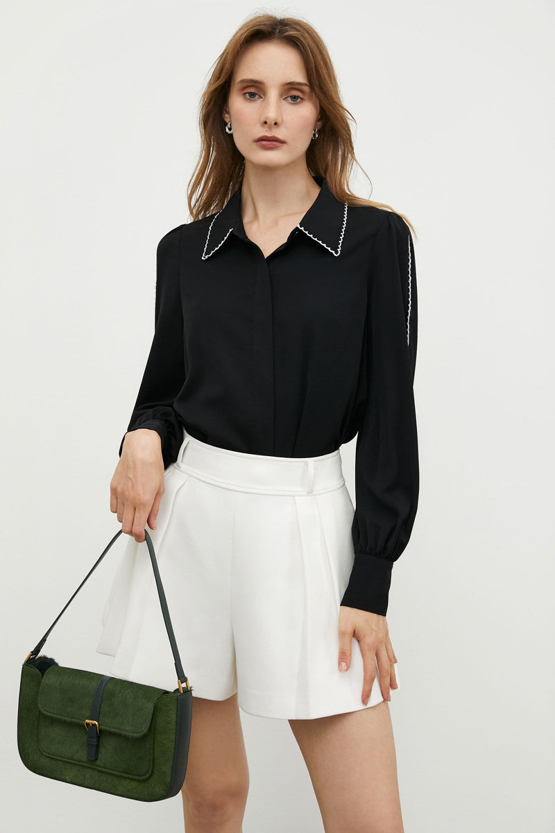 Contrast Black Collar Blouse