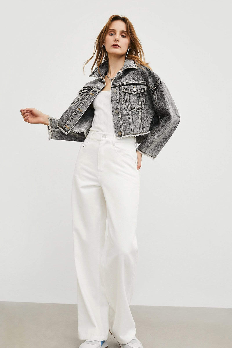 Cass White Button Trousers