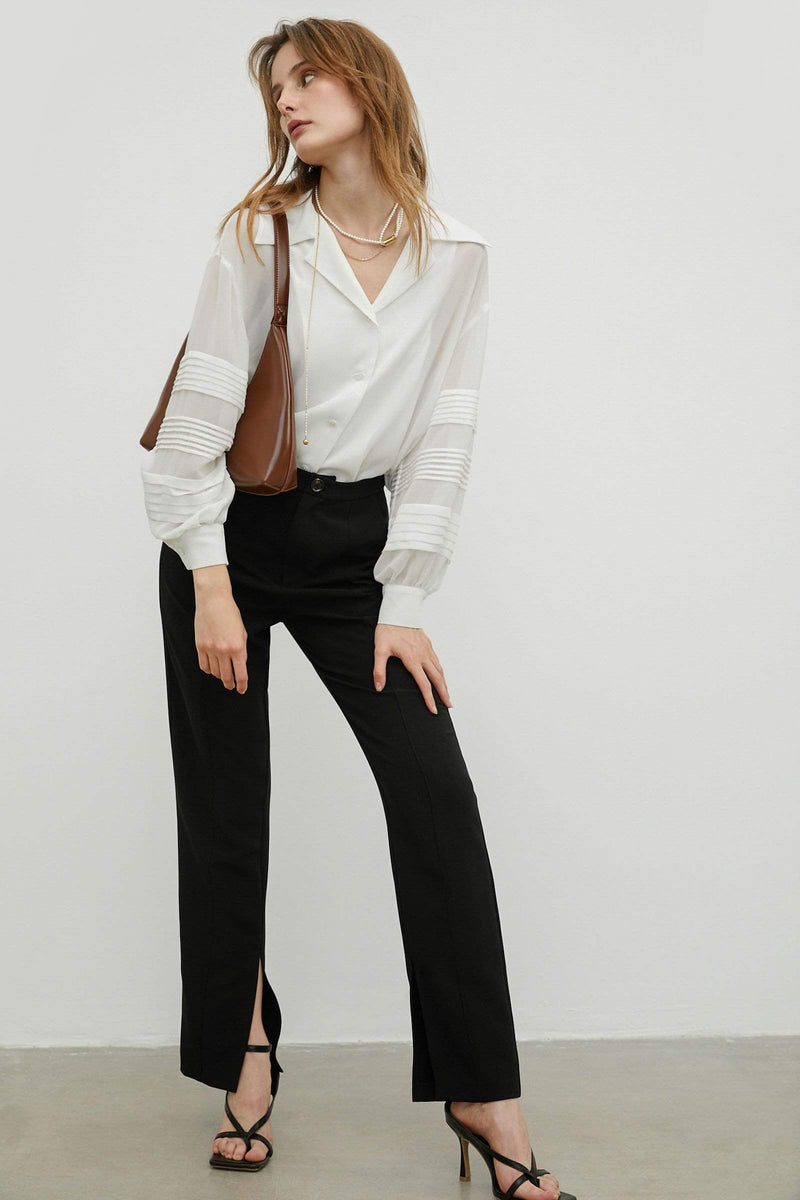 Split Hem Black Trousers
