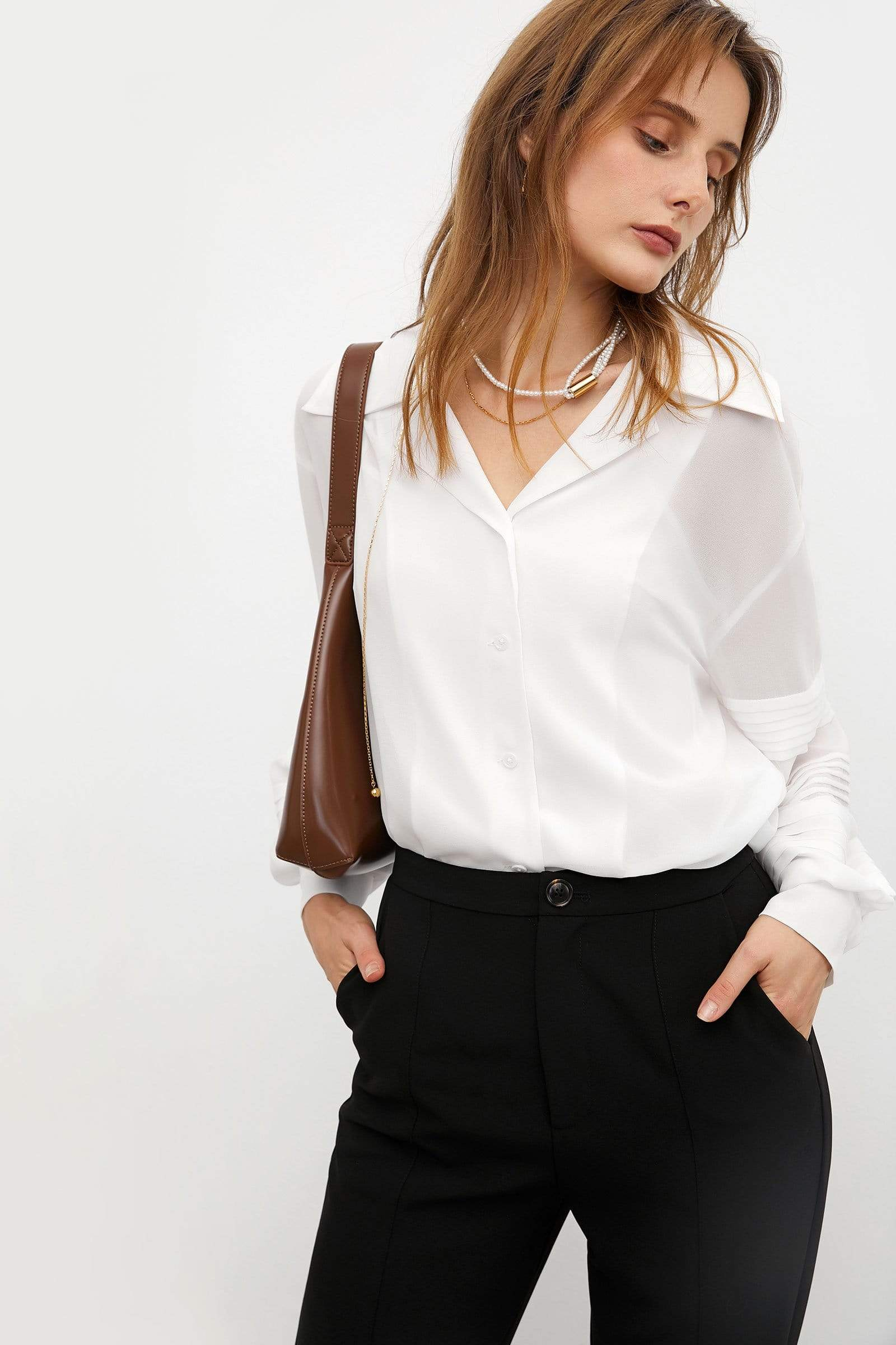 Chiara White Button-Down Blouse