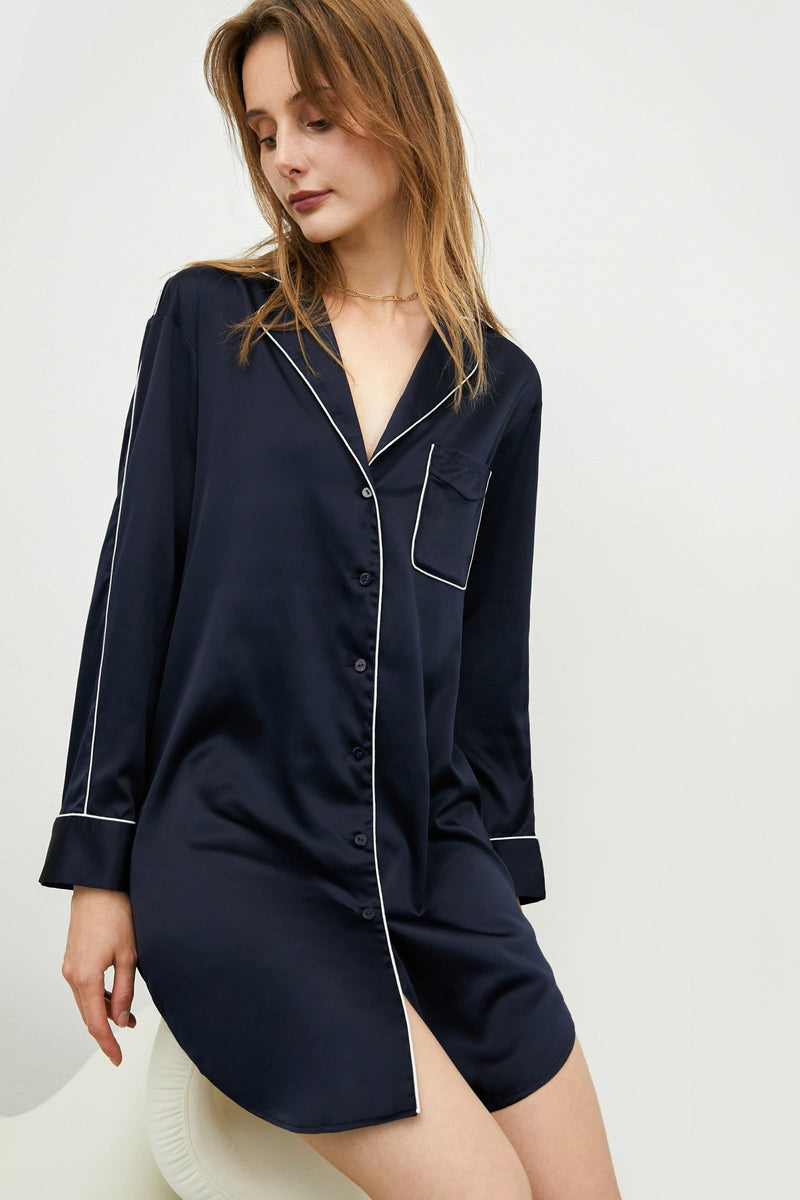 Satin Navy Sleep Dress