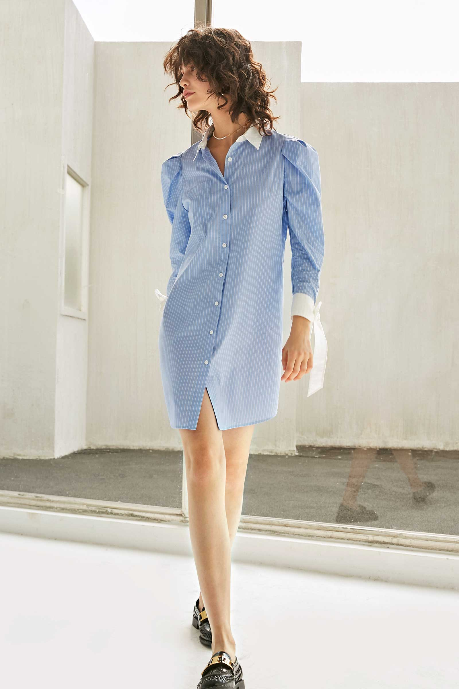 Amy Powder Blue White Collar Shirt Dress