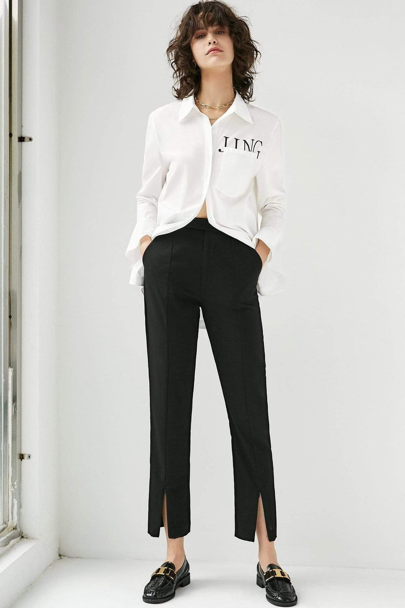 Cora Black Straight Leg Pants
