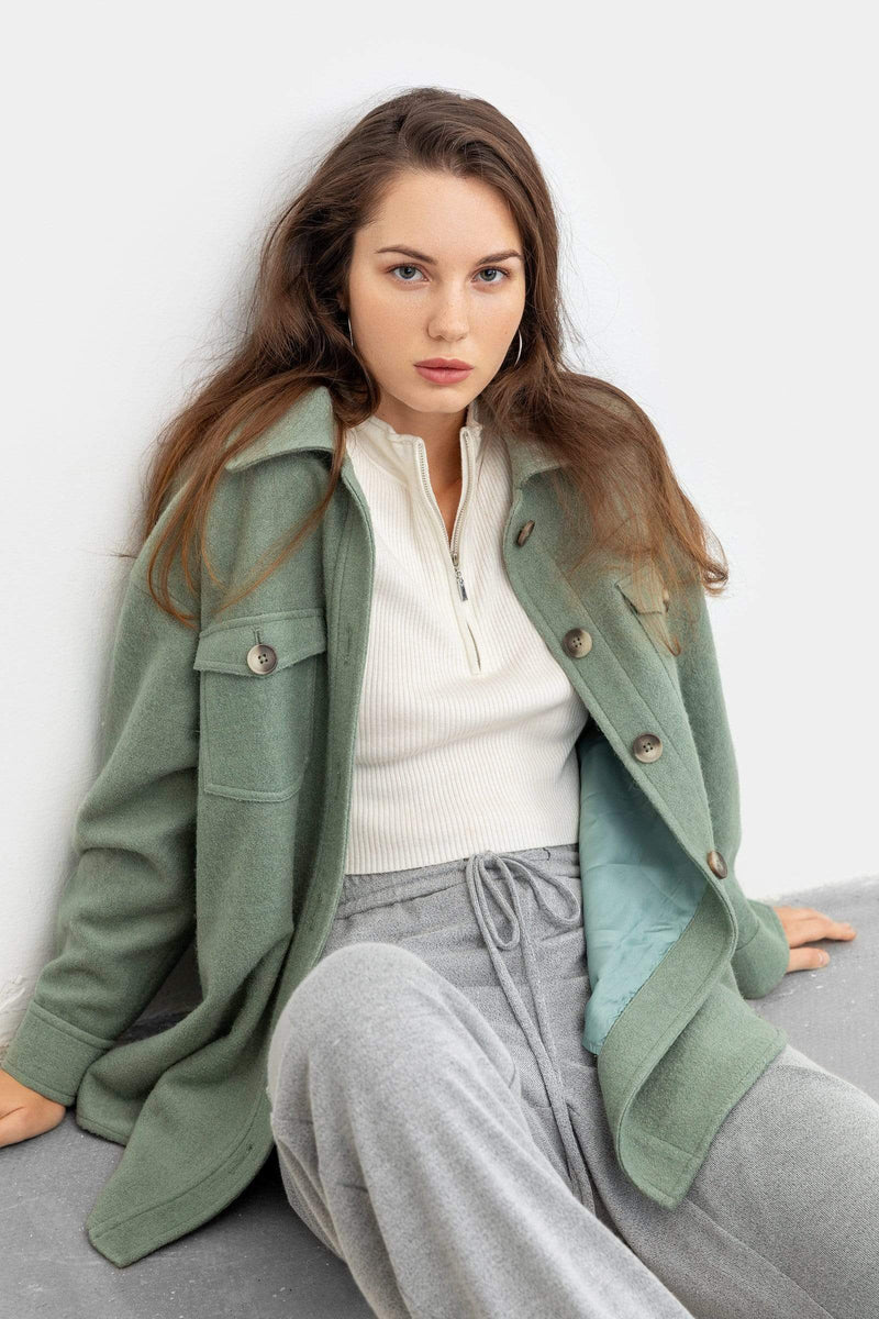 Sage Green Longline Shacket