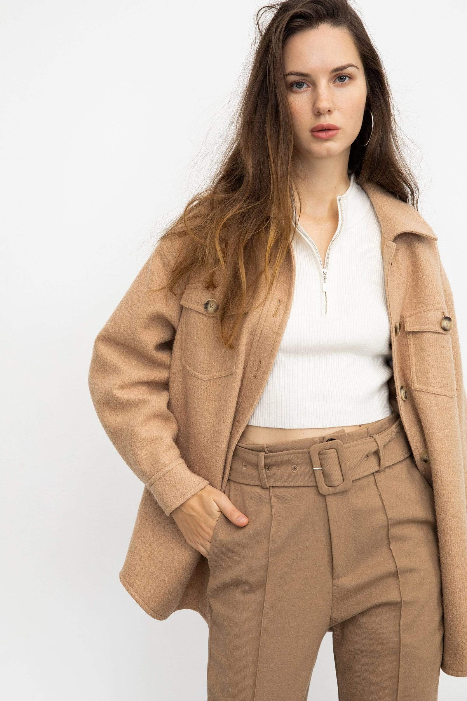 Sage Tan Longline Shacket
