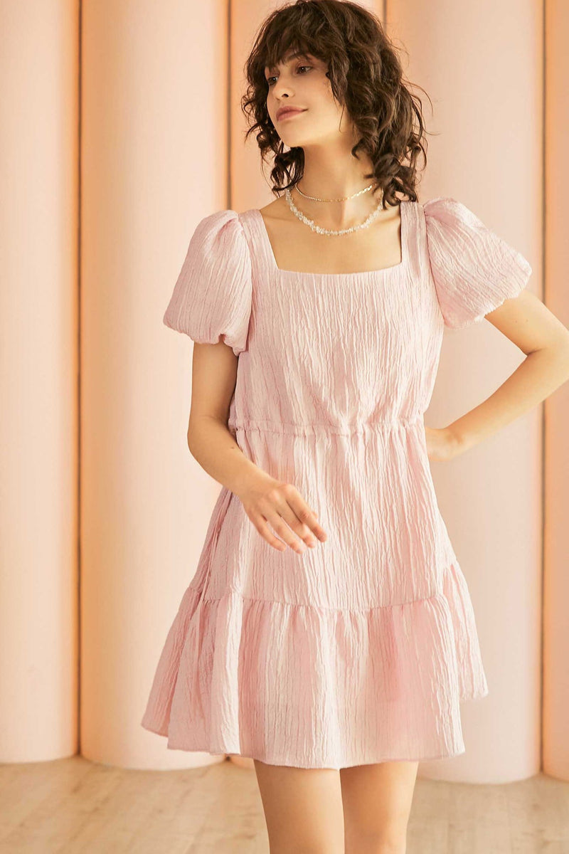 Addison Pink Puff Sleeve Midi Dress