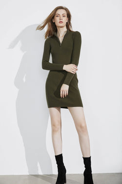 Essential Olive Zip-Up Dress