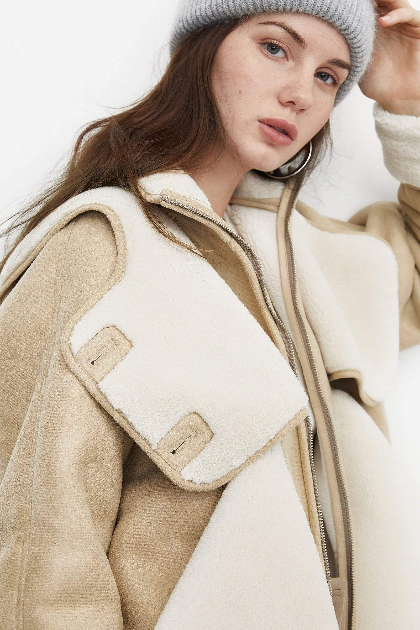 Oversized Tan Shearling Coat