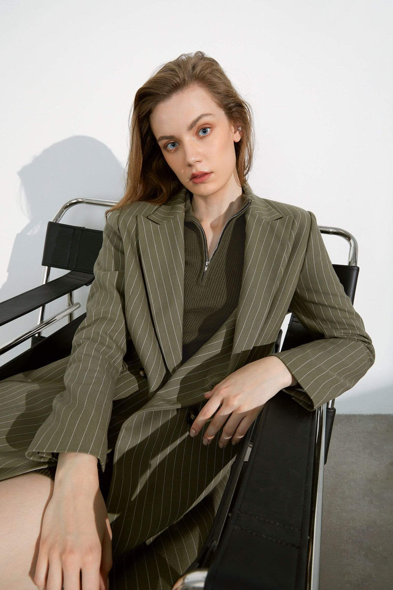 Parker Green Pinstriped Coat
