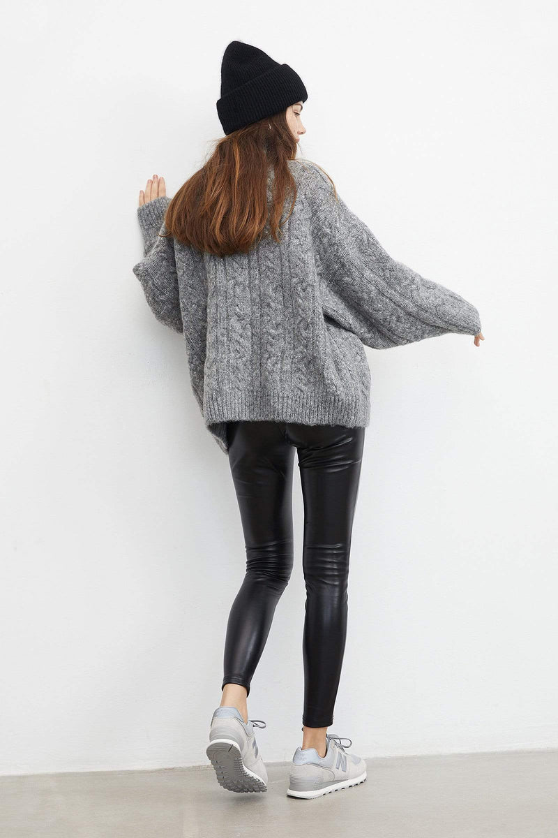Chunky Grey Cable Knit Turtleneck