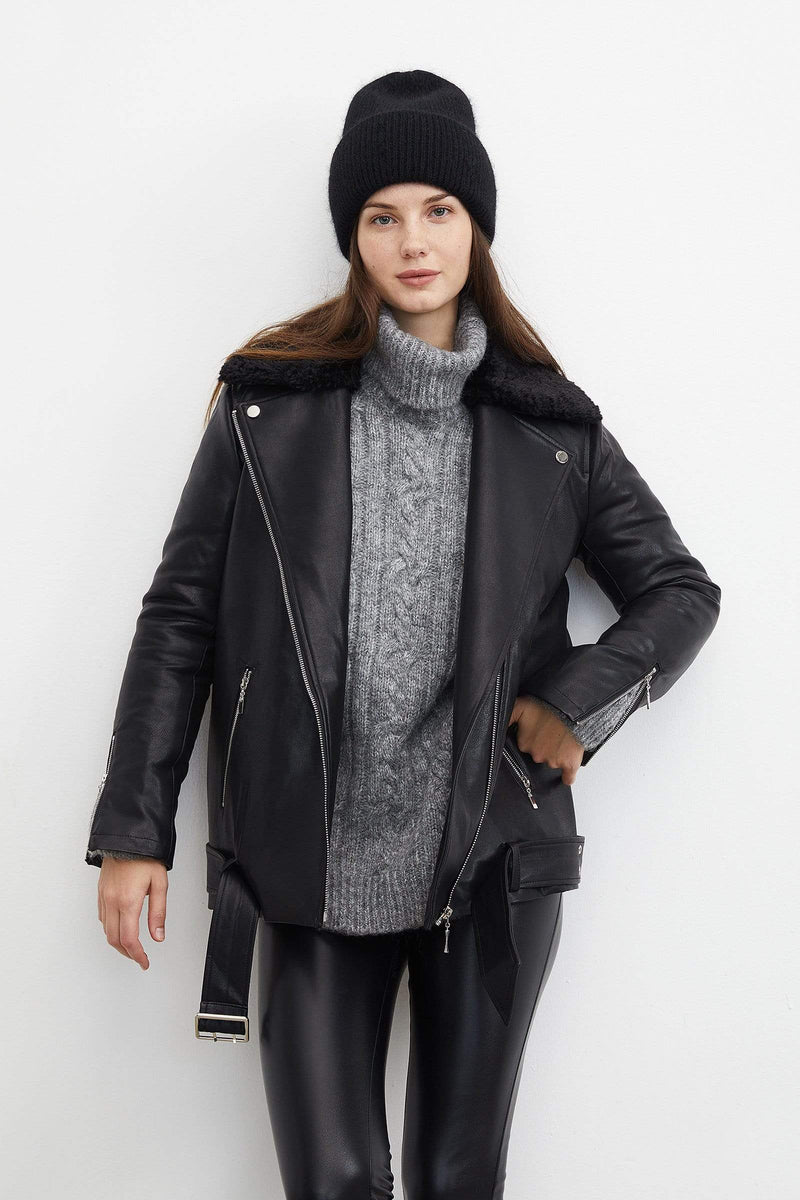Sleek Black Leather Oversized Jacket
