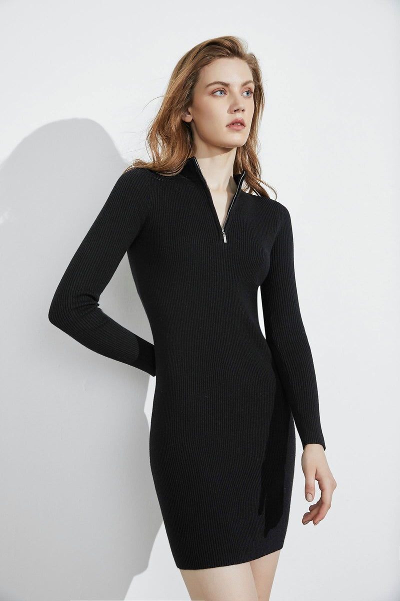 Essential Black Zip-Up Dress