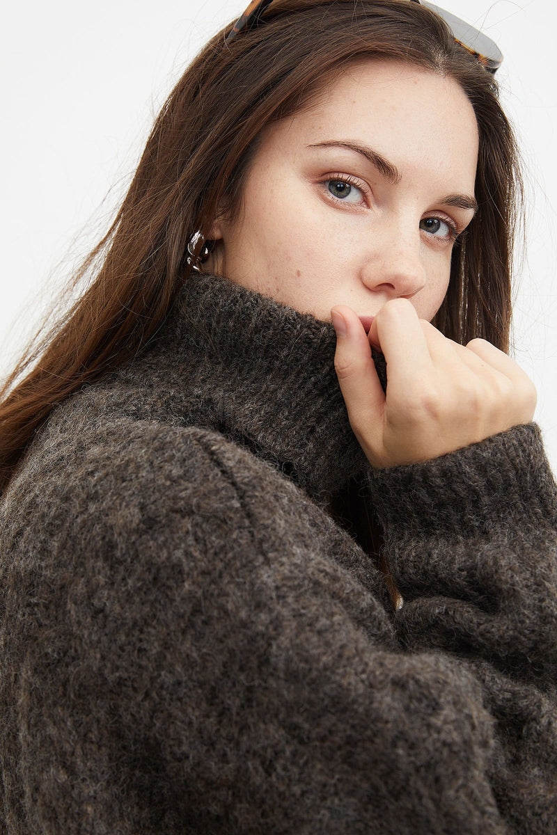 Chunky Chocolate Cable Knit Turtleneck