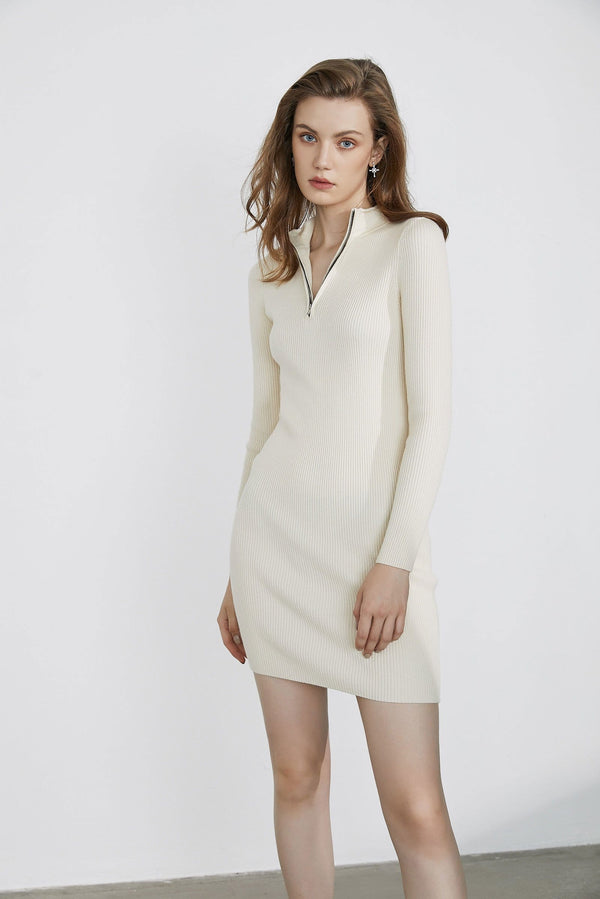 Essential Cream Zip-Up Dress