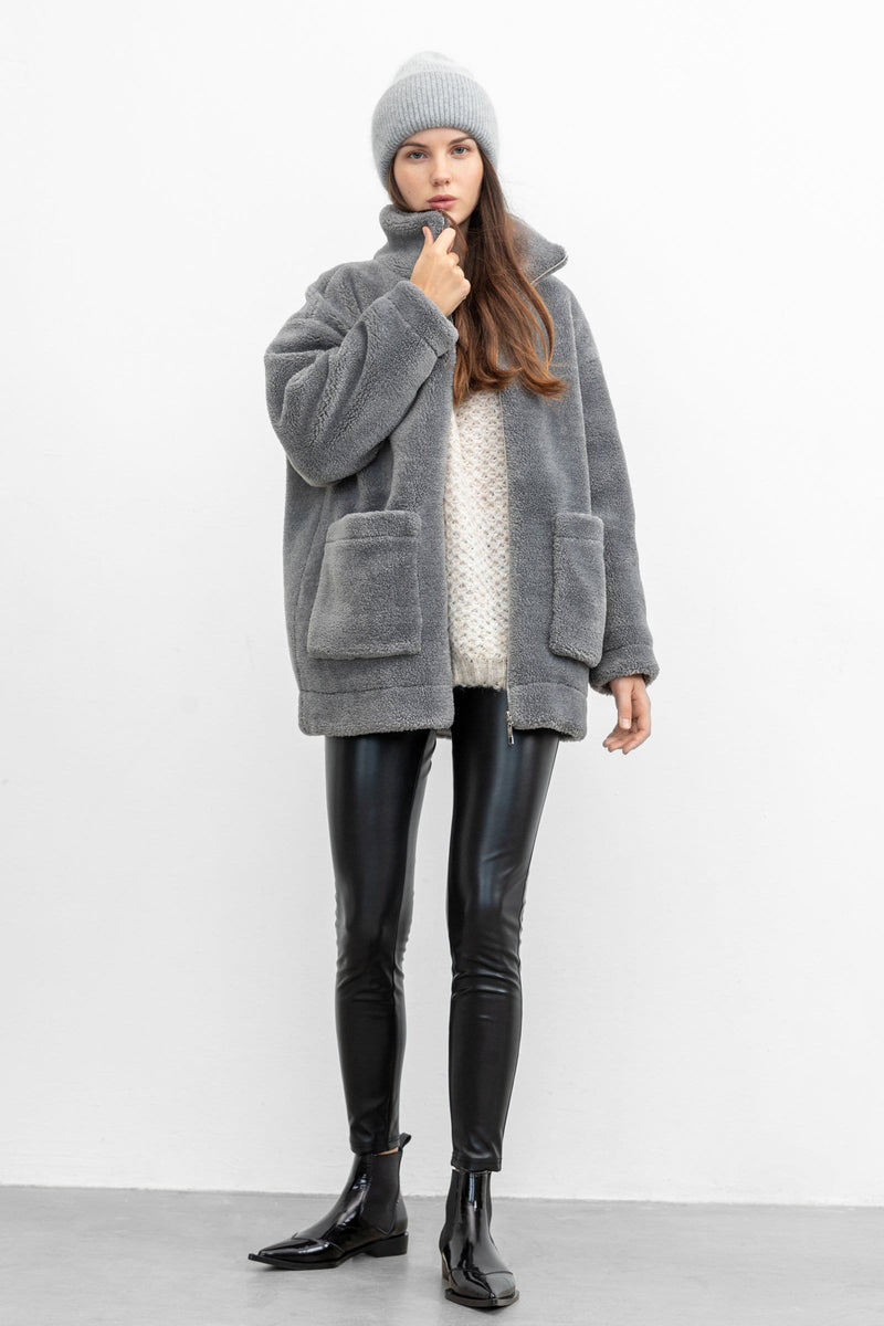 Plush Grey Teddy Coat