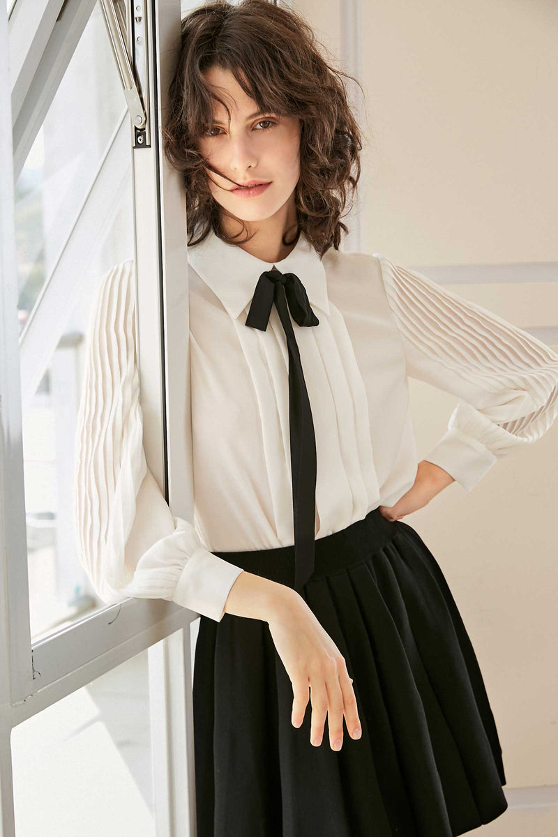 Camila Ivory Black Bow Tie Blouse