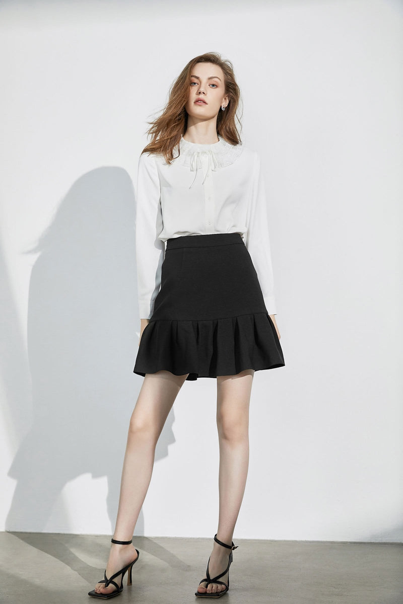 Elodie Black Fluted Skirt