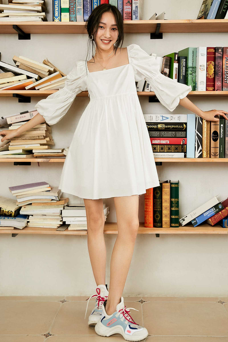 Alexis Ivory Puff Sleeve Mini Dress