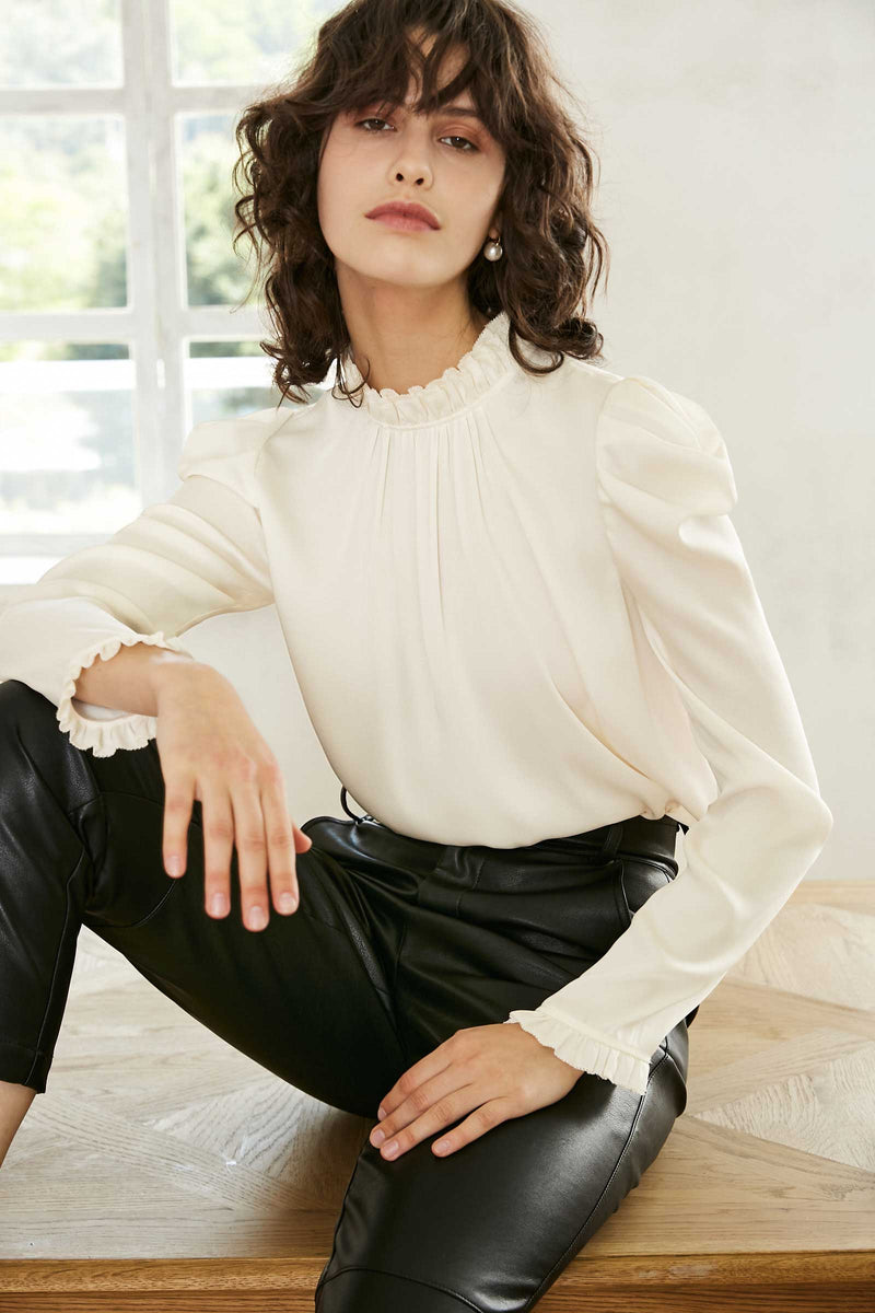 Vera Cream Ruffled Neck Blouse