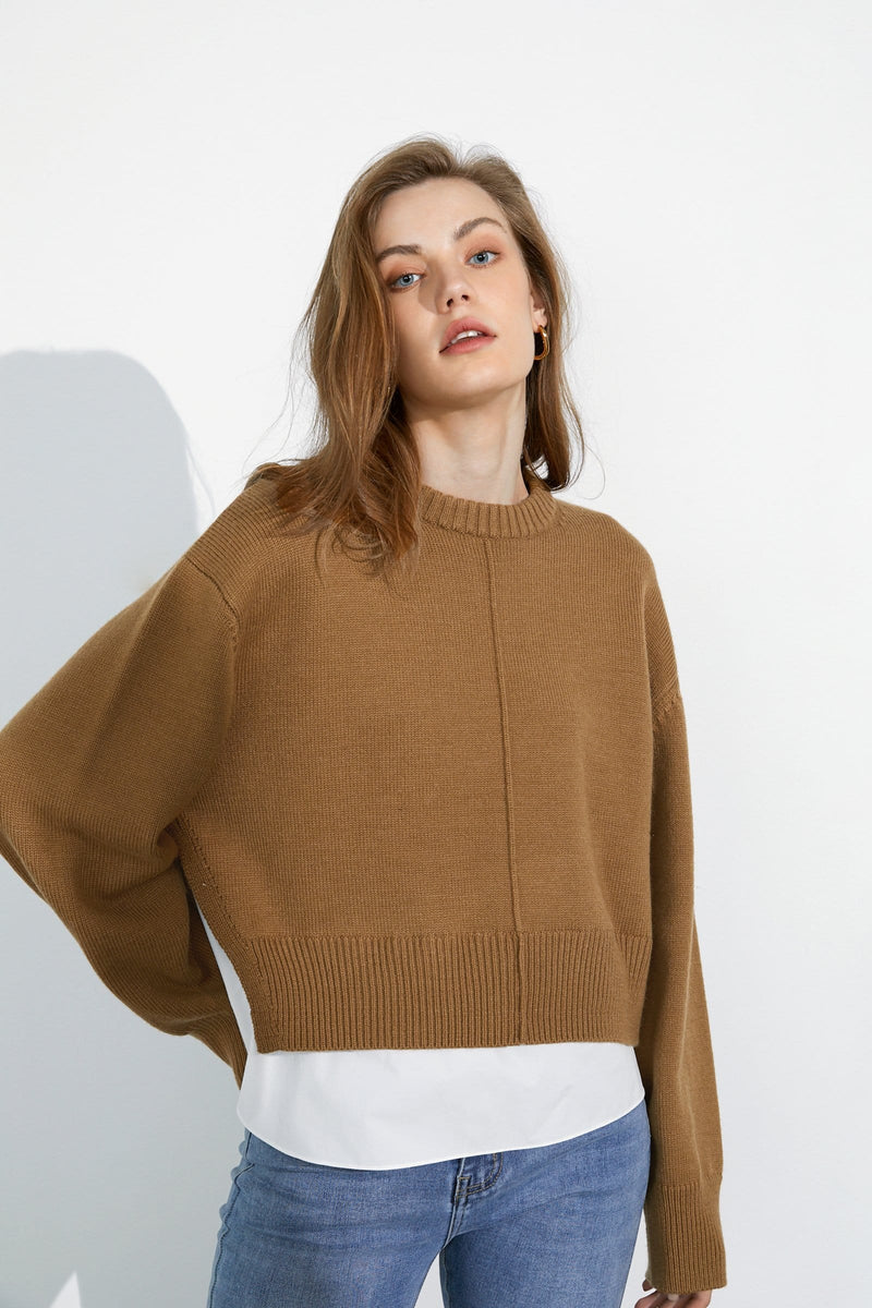 Henley Brown Round Neck Sweater