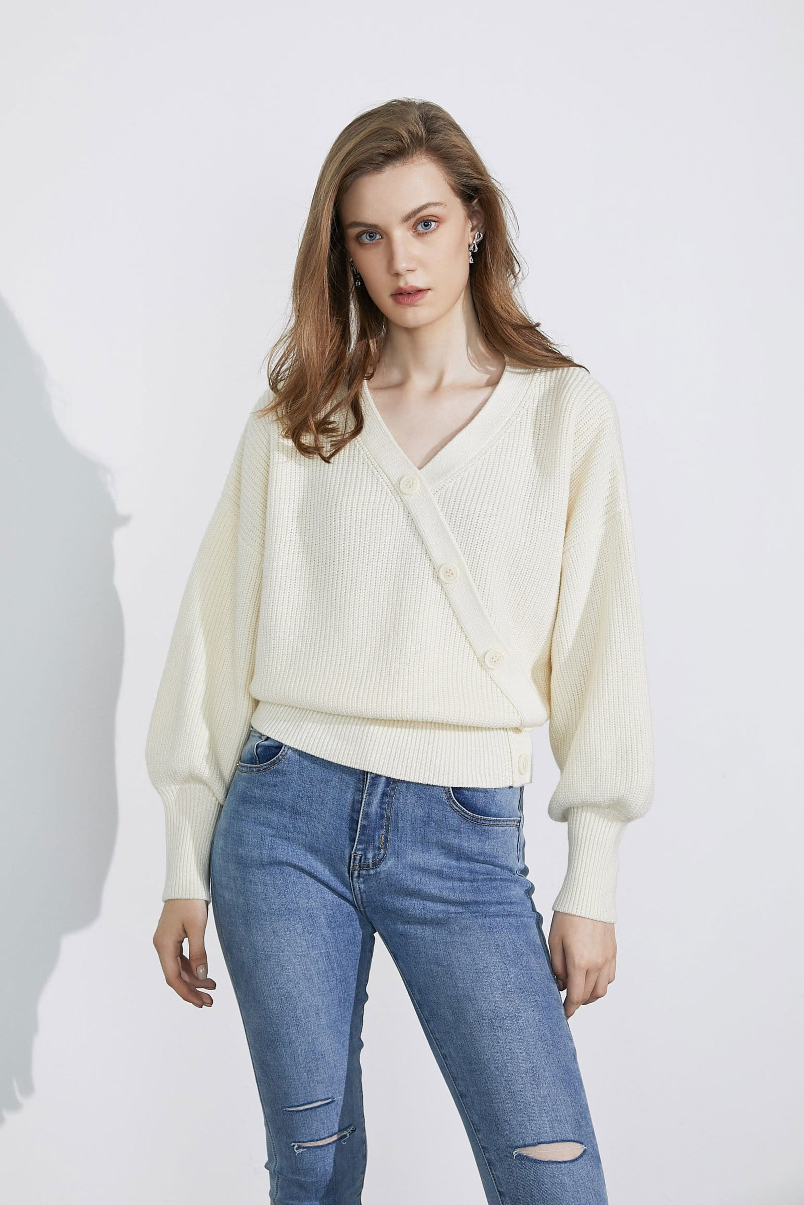 Amelia Cream Wrap Sweater