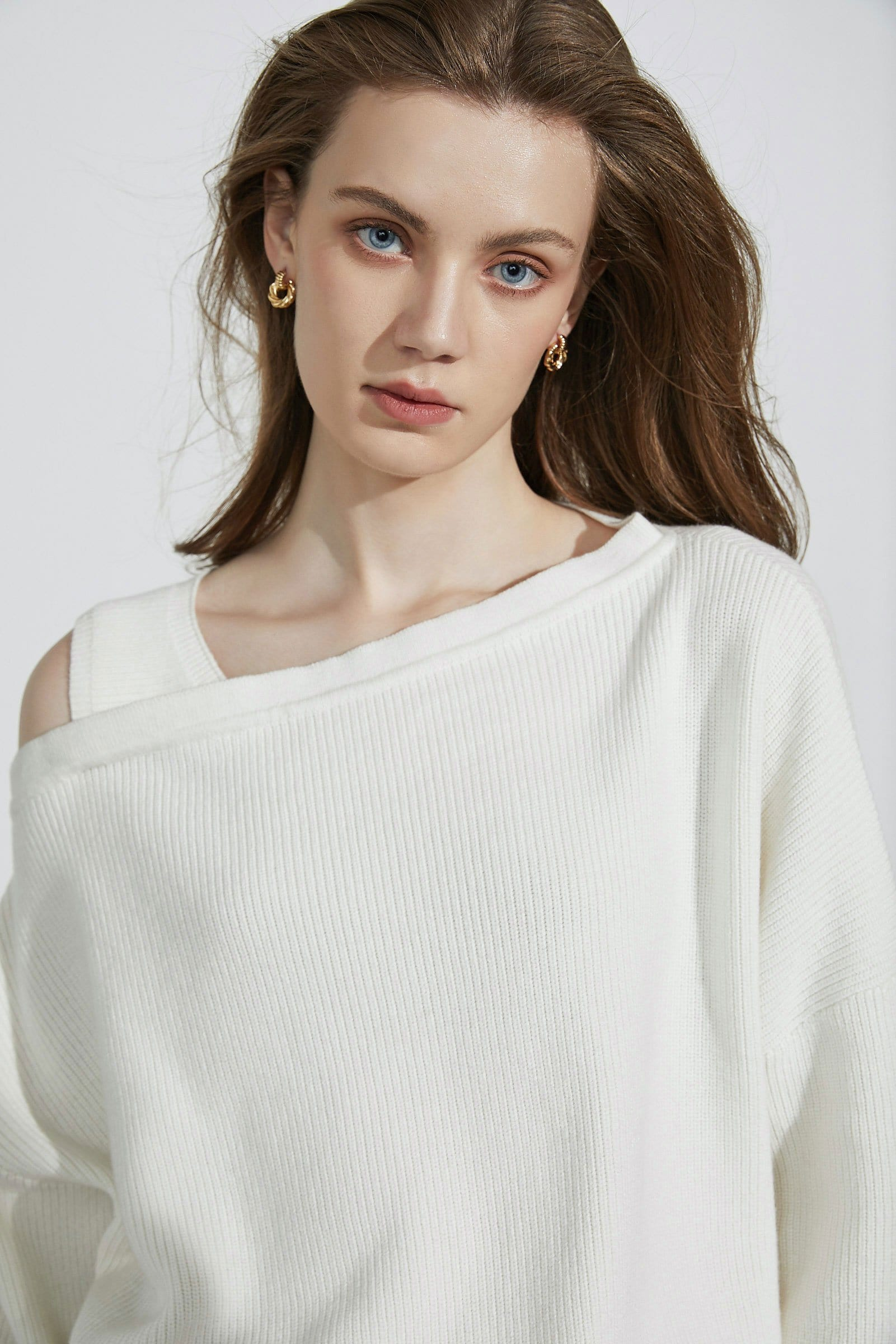 Kadey White Asymmetrical Sweater