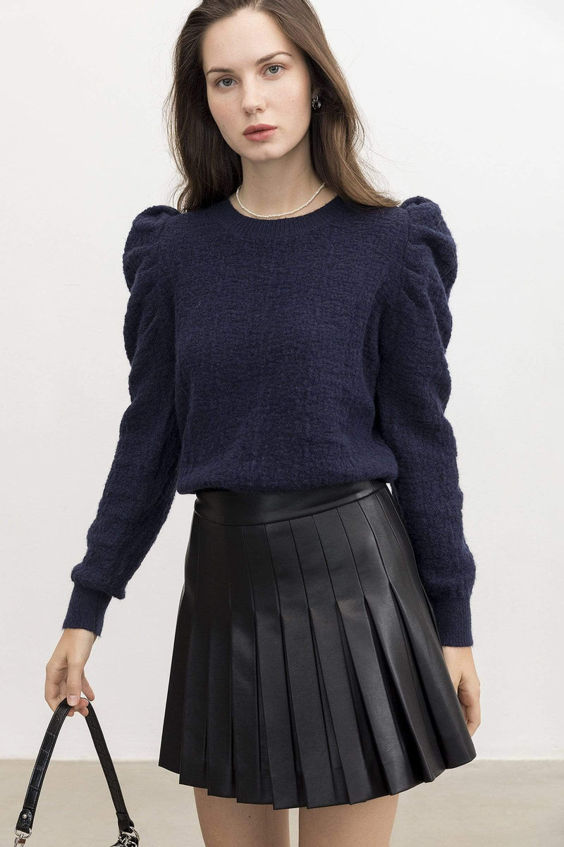 Maureen Navy Puff Sleeve Sweater