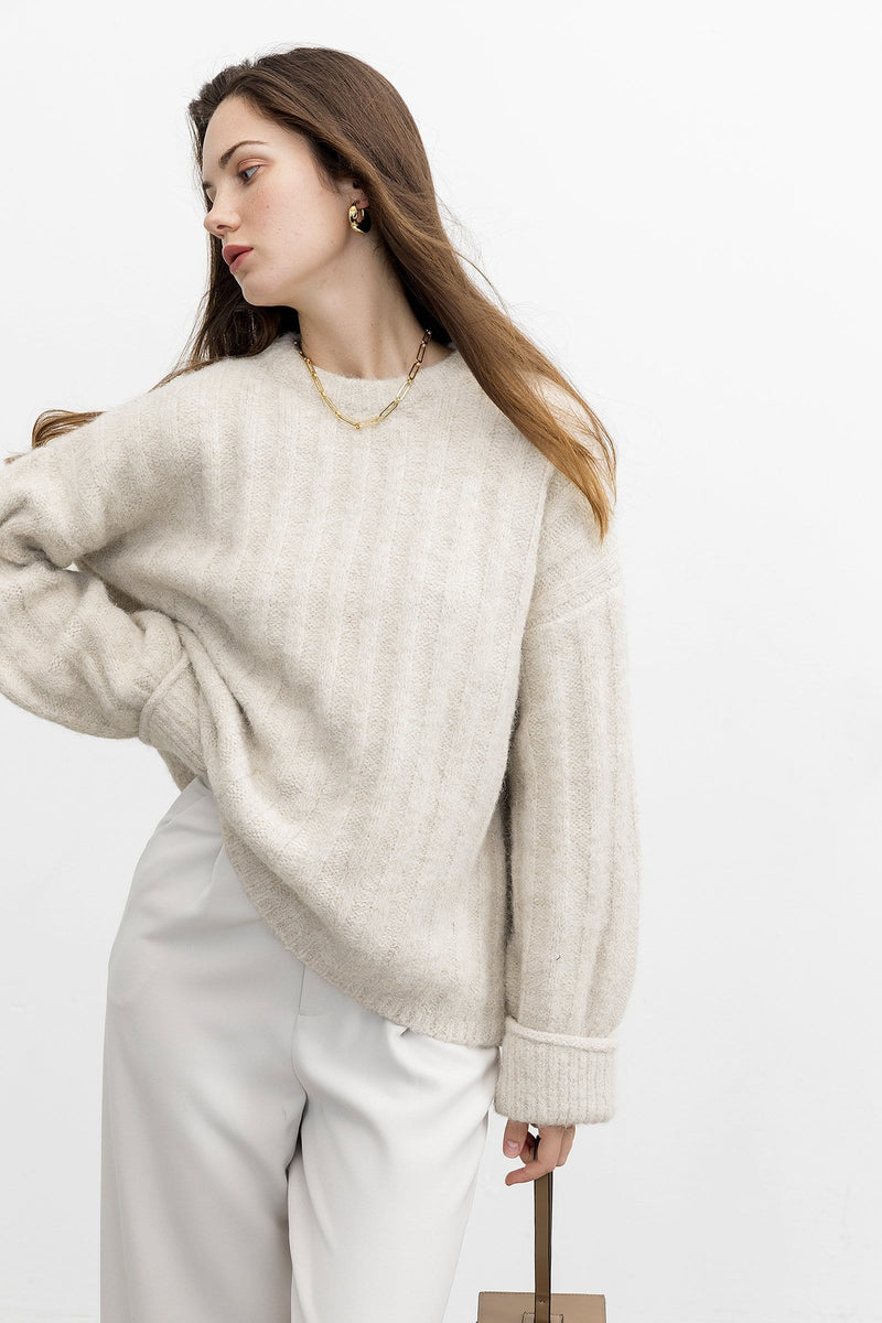 Emilie Oat Ribbed Sweater