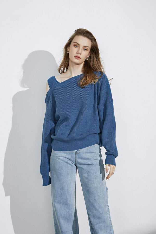 Kadey Blue Asymmetrical Sweater