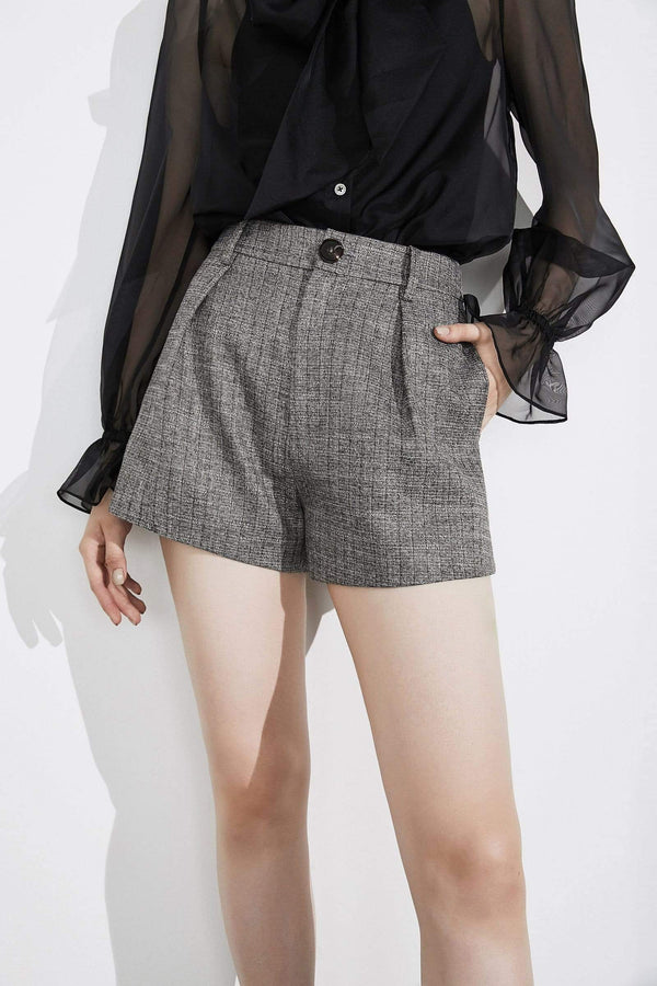 Gigi Grey Herringbone Shorts