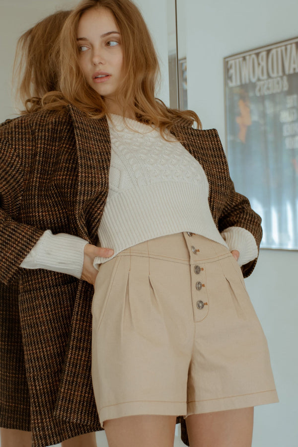 Mika Beige Button Shorts
