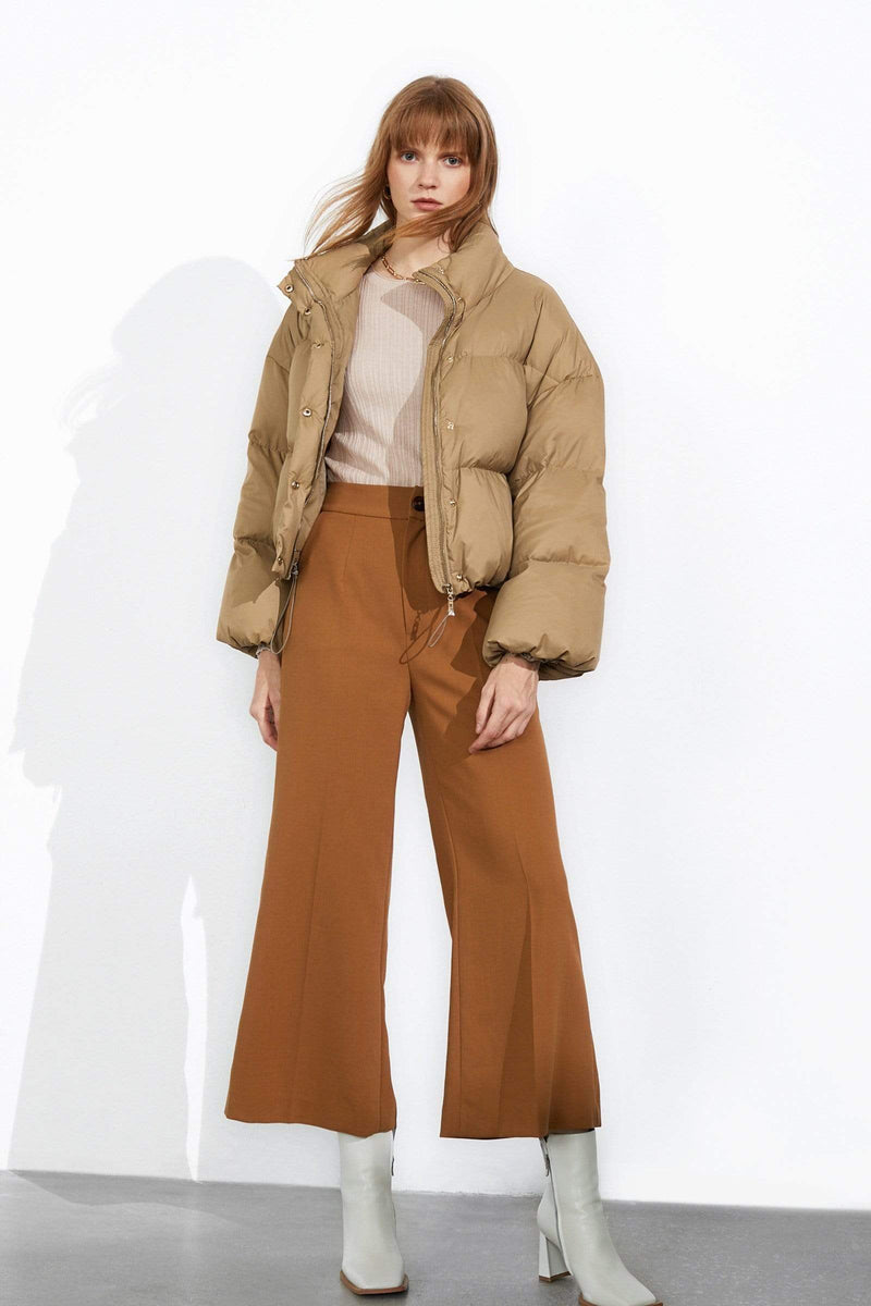 Cropped Tan Puffer Jacket