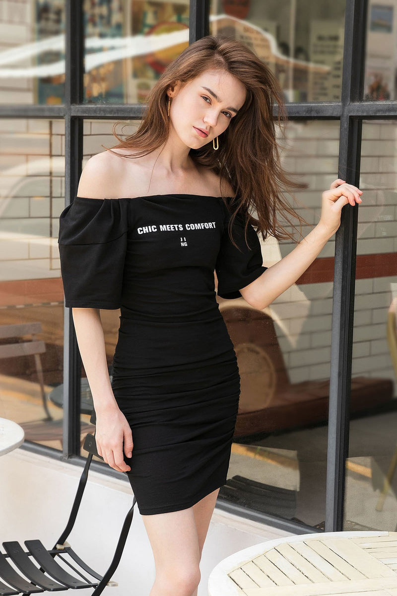 Essential Black Ruched Mini Dress