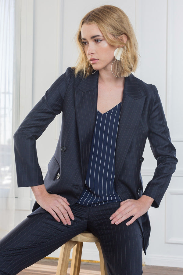 Gabi Double Breasted Pinstriped Blazer in Coats & Jackets by J.ING - an L.A based women's fashion line