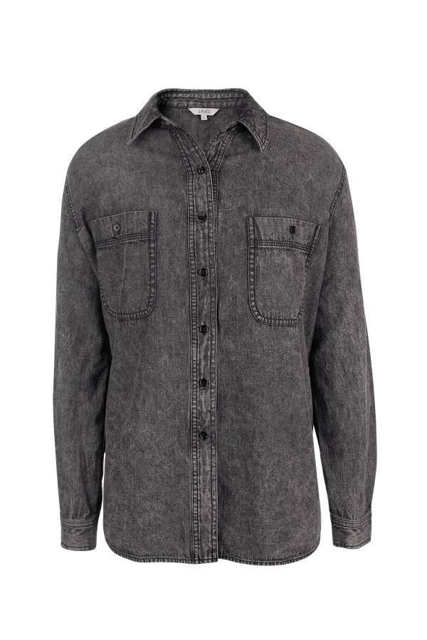 Mara Black Denim Dress Shirt