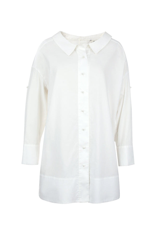 Madeline White Button Dress